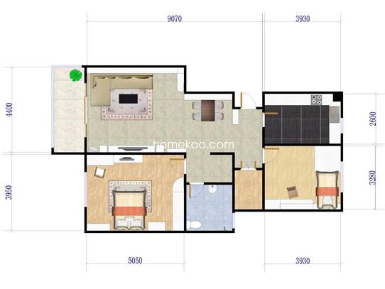 2室2厅1卫 91�O
