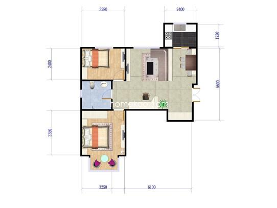 A反户型2室2厅1卫1厨