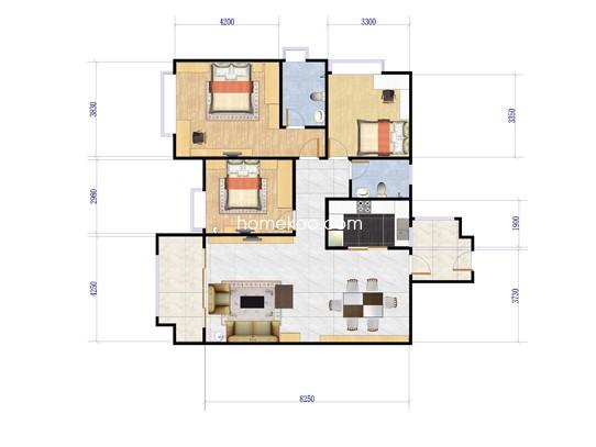 E8栋A梯02户型3室2厅2卫1厨 120.57�O