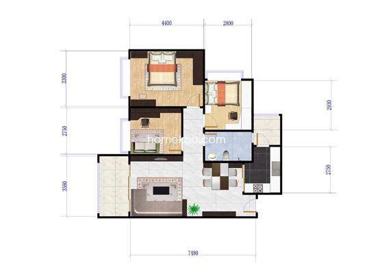 E8栋B梯04户型3室2厅2卫1厨 91.44�O