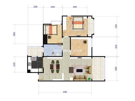 c1、c5栋03户型3室2厅1卫