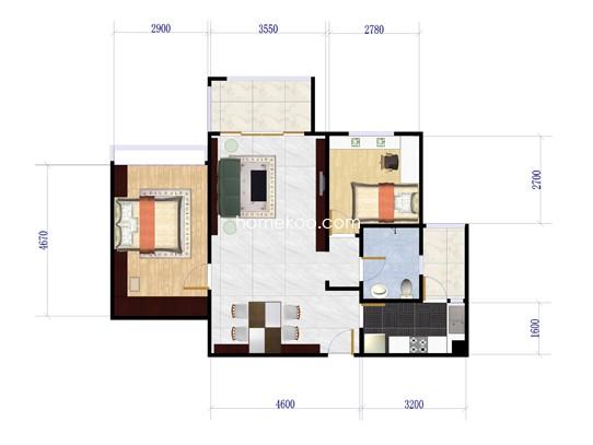 五期c3栋-02单位2室2厅1卫1厨 83�O
