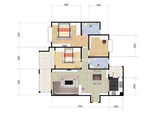 五期c3栋-03单位3室2厅2卫1厨 126�O