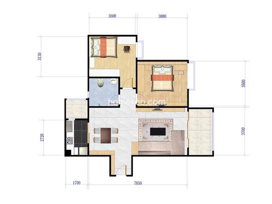五期c4栋-03单位2室2厅1卫1厨 82�O