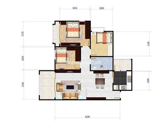 五期c4栋-05单位3室2厅1卫1厨 98�O