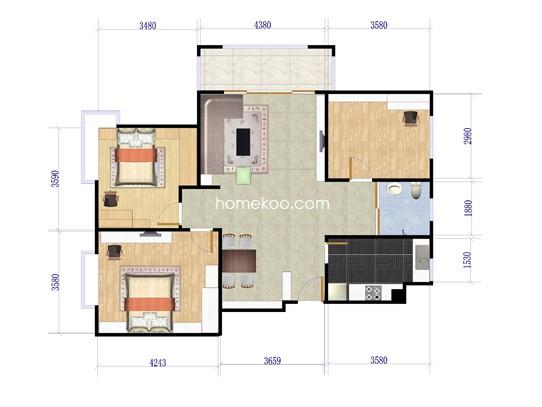 F户型三室二厅一卫 104.38�O