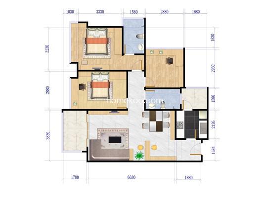 2栋、3栋d户型3室2厅2卫1厨 87�O