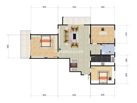 3室2厅1卫 124.09�O