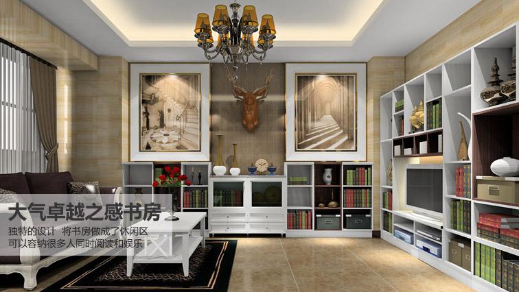 大气卓越之感书房-现代风格-书房家具定制效果图
