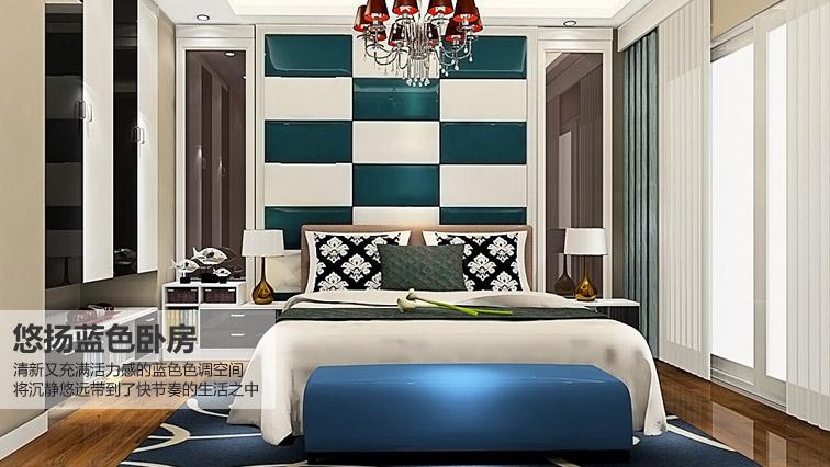 悠扬蓝色卧房-简约风格-卧室家具定制效果图