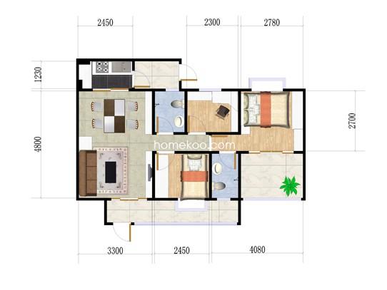 1、2栋1座首层03单位3室2厅2卫1厨 90.01�O