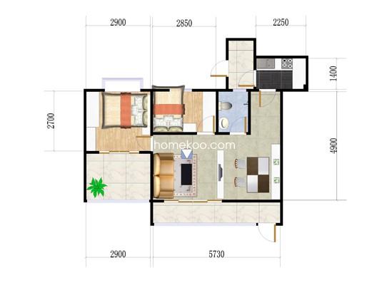 1、2栋1座首层04单位3室2厅1卫1厨 81.75�O