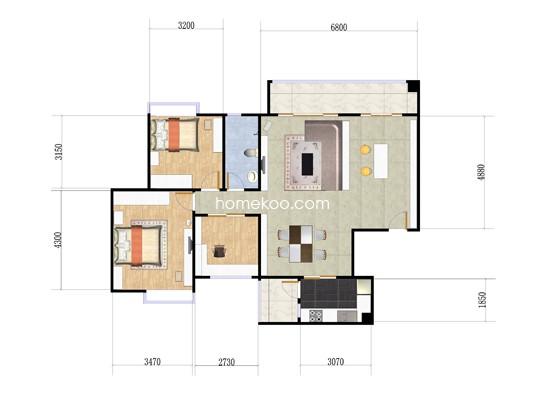 G户型3室2厅1卫1厨 102�O