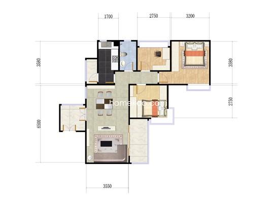 F区30、31栋03户型3室2厅1卫1厨 85�O