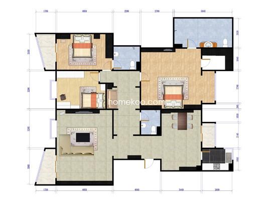 二期7号楼C1三室两厅三卫约218.70平方米户型