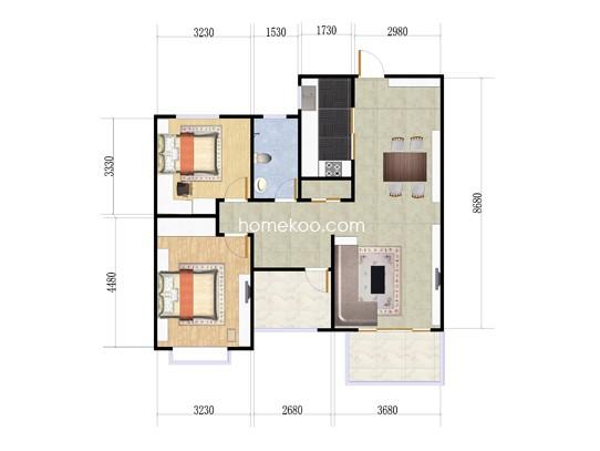 2室2厅1卫 96�O