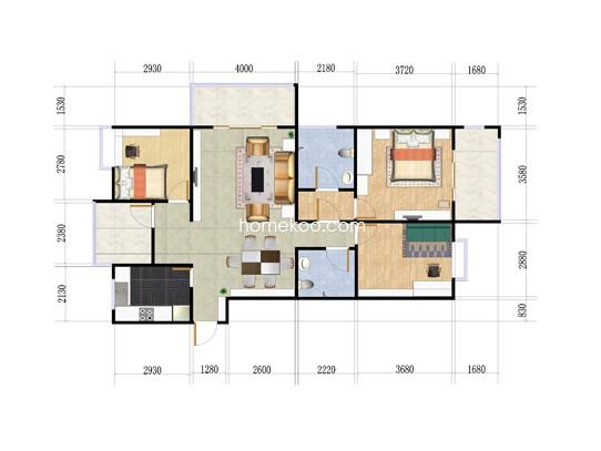 3室2厅2卫 121�O