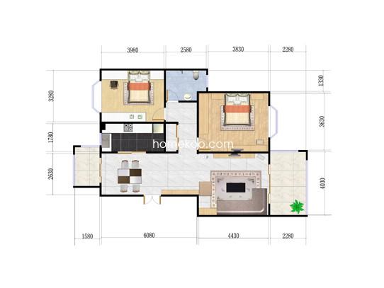 2室2厅1卫 106�O