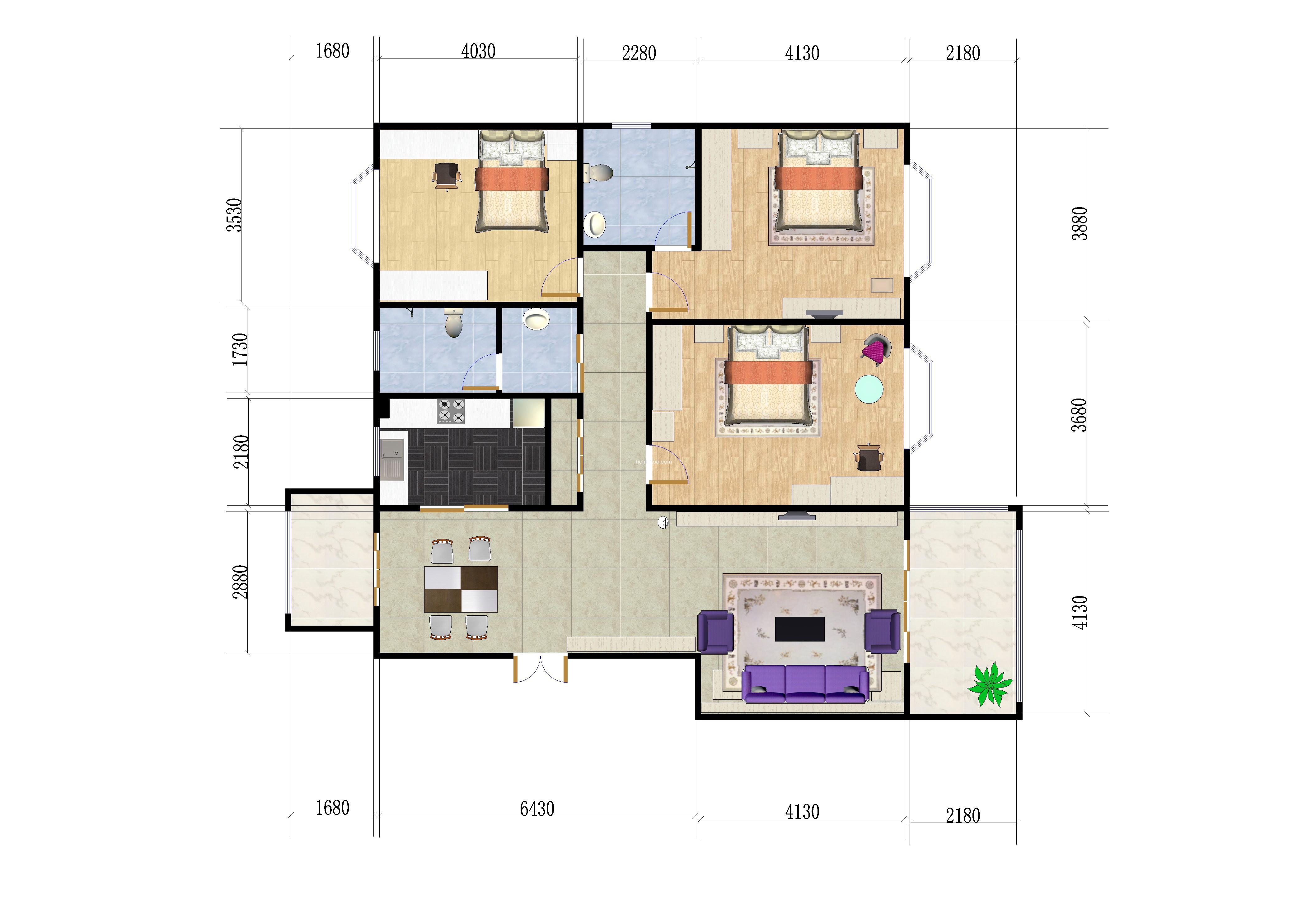 3室2厅2卫 143�O
