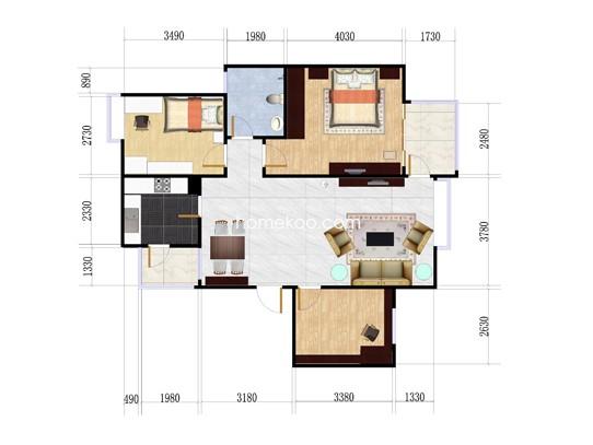 3室2厅1卫 90�O