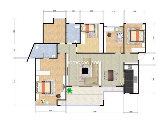 1期A2五房5室2厅2卫1厨 143�O