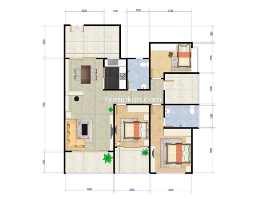 D073室2厅2卫1厨 100.65�O