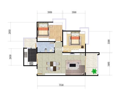 B1栋01户型2室2厅1卫1厨 79.73�O