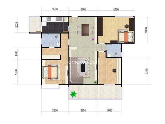 B1栋04户型3室2厅2卫1厨 124.65�O