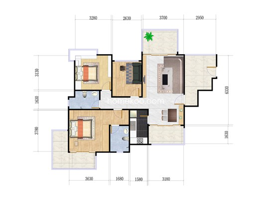 9栋03户型2室2厅2卫1厨 95�O