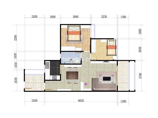 3号楼B座03户型2室2厅2卫1厨 70�O