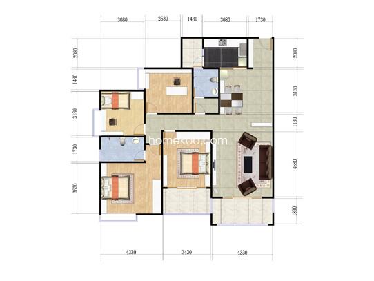 5号楼02户型3室2厅2卫1厨 129�O