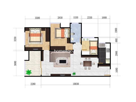 1期B1三房3室2厅2卫1厨 89�O