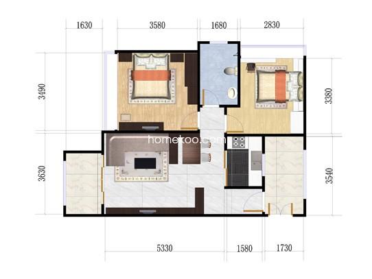 1栋D座19户型2室1厅1卫1厨 75.58�O