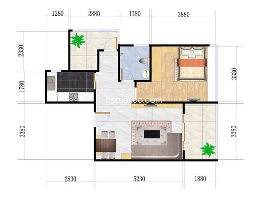1A-02户型2室1厅1卫1厨 65�O