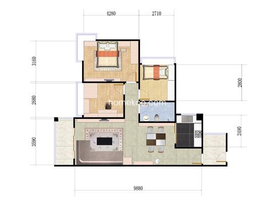1-4栋05单位3室2厅1卫1厨 97.00�O