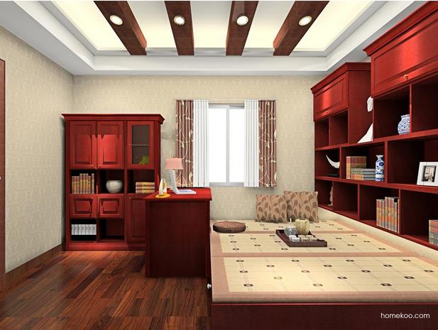 带床的书房装修效果图