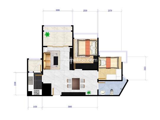 1栋02、03户型2室2厅1卫1厨 66�O