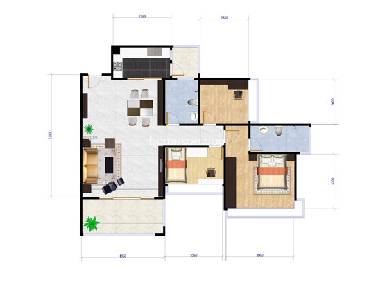 6栋01、02户型3室2厅2卫1厨 85�O
