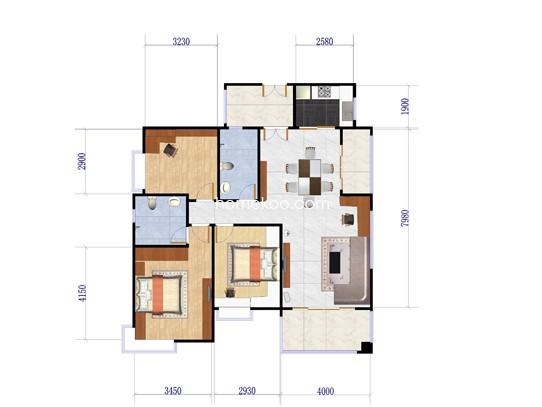 A1、A2栋01单位3室2厅2卫1厨 127�O