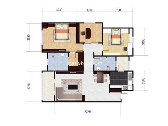 A1户型3室2厅2卫1厨 118�O