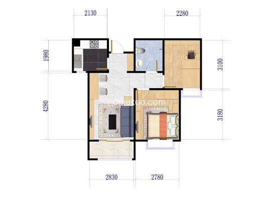 9号楼B3东户两房两厅一厨一卫 87�O