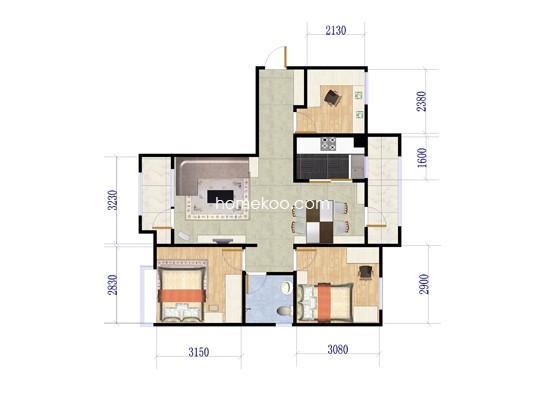 B9户型3室2厅1卫1厨 114�O