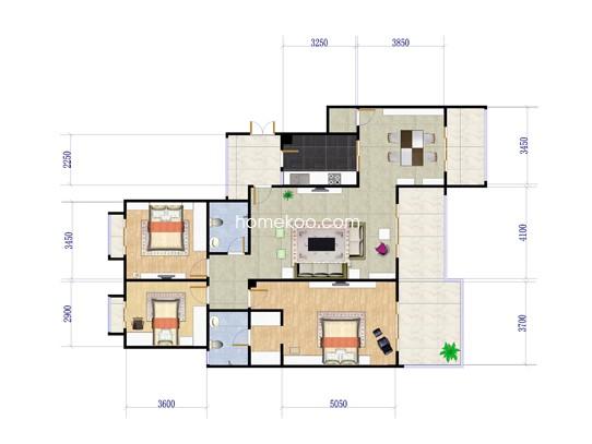 E户型三房两厅 117.75�O