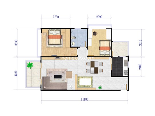 1座05户型2室2厅1卫1厨 83.57�O