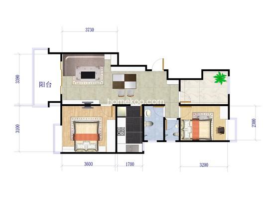 四期A2户型图2室2厅1卫1厨 90�O