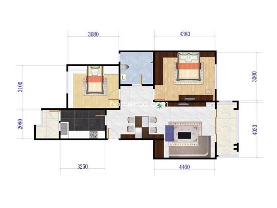 二期2室2厅1卫 88�O