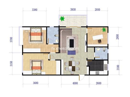 C1户型3房2厅1卫 125�O