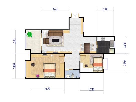 D1户型2室2厅1卫1厨 95�O
