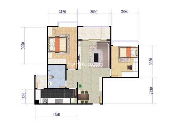 二期19#B两房两厅 66�O