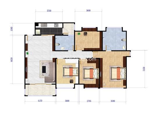 3座3单元2-9层01房户型 125�O